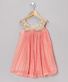 Peach Pleated Chiffon Dress - Toddler & Girls by Kosse Designs on #zulily #cutiestyle
