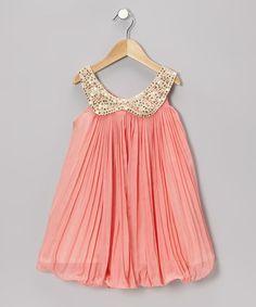Peach Pleated Chiffon Dress - Toddler & Girls by Kosse Designs on #zulily #cutiestyle