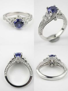 Custom Made Montana Sapphire Engagement Ring - Schmuck - Engagement Rings Antique Style Engagement Rings, Diamond Engagement Rings, Diamond Rings, Solitaire Diamond, Halo Engagement, Tanzanite Engagement Ring, Solitaire Rings, Ruby Rings, Diamond Stud