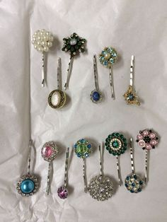 Making these hair pins for the Holiday markets :) some are vintage jewelry repurposed ;)