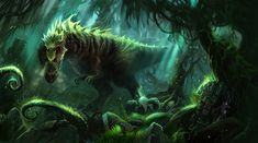hunting green dinosaur t-rex illustration showing a tyrannosaurus rex in the jungle by jian guo on titan creative Dark Fantasy, Fantasy Art, Jungle Art, Curious Creatures, Dinosaur Art, Science Fiction Art, Fantasy Creatures, Mythical Creatures, World Of Warcraft