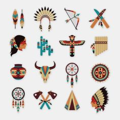 Illustration of Ethnic american idigenous tribal amulets and symbols icons collection with native feathers headdress abstract isolated vector illustration vector art, clipart and stock vectors.