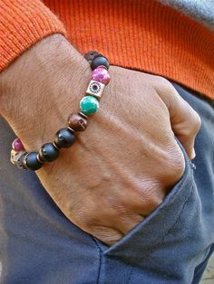 Men's Spiritual Fortune, Courage, Protection Bracelet Semi Precious Matte Onyx, Imperial Jasper, Lava Cubes, Carved Wood, Antique Copper