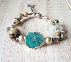 Sky Stone / Gypsy Trinket Bracelet / Raw Sleeping Beauty Turquoise / Bohemian Gypsy