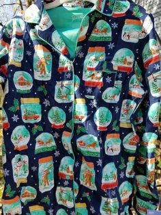 Nick Nora Pajamas Small Snow Globes Flannel Blue Green Two Piece Top Pants NEW #NickNora #PajamaSets #Everyday Nick And Nora Pajamas, Green Two Piece, Womens Pjs, Things To Buy, Stuff To Buy, Sleep Tight, Christmas Items, Wonderful Things, Selling On Ebay