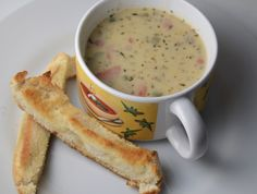 Cheeseburger Soup With Easy (hot dog roll!) Breadsticks.