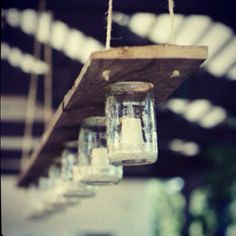 Great outdoor dining idea: mason jar chandelier