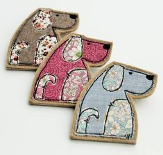 Dog Brooch - A fabulous handmade brooch for that special Dog lover in your life.Available in three colours, rose - Fabric Brooch, Felt Brooch, Felt Fabric, Fabric Art, Fabric Scraps, Wool Fabric, Freehand Machine Embroidery, Free Motion Embroidery, Free Machine Embroidery