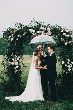 Rainy day wedding - so cute! #springwedding #springshowers #outdoorwedding
