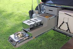 lightweight off-road camper trailer kitchen pantry slide