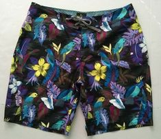 57a0094e7b Old Navy Men Swim Trunks Hawaiian Parrot Board Shorts Black Magnum PI XL  2008 #OldNavy