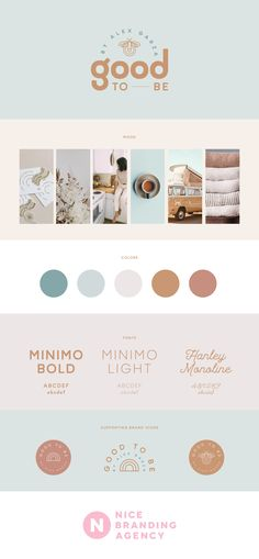 Influencer branding or personal brand design from Nice Branding Agency includes a mood board, logo design, supporting brand icons, brand color palette, and brand fonts. The Alexandrea Garza and Good To Be project included both social media influencer brand design, as well as clothing line branding.