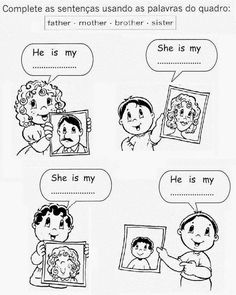 English Lessons For Kids, English Class, Brother Sister, Grade 1, My Family, Worksheets, Sisters, Father, Comics
