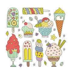 Ice cream collection vector doodle dessert - by Favete on VectorStock®