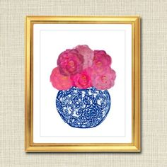 Blue and White Ginger Jar Digital Art Print Chinoisierie Pink Peonies, Pink Roses, Hot Pink Bedrooms, Ginger Jars, Chinoiserie, Digital Illustration, Printable Art, How To Draw Hands, Digital Art