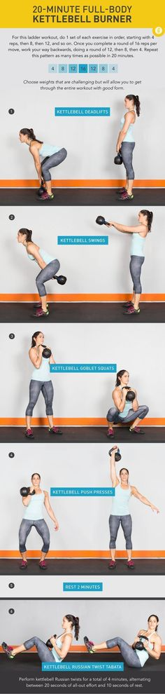 20 Minute Full-Body Kettlebell Burner Feel the burn (and love it!) with this total-body kettlebell workout. This workout may be quick, but don't let that fool you. It spikes your heart rate while also challenging every major muscle in your body! Fitness Workouts, Lower Ab Workouts, Sport Fitness, Fitness Diet, At Home Workouts, Fitness Models, Fitness Motivation, Health Fitness, Tabata Workouts
