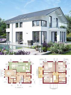 Modernes Design Haus mit Satteldach - Einfamilienhaus bauen Grundriss Fertighaus Evolution 154 V3 Bien Zenker Hausbau Ideen - HausbauDirekt.de