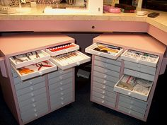 aren't these fantastic for notions!These are two notions cabinets on wheels that DH built for me. They use plastic drawers available from www.gemsondisplay.com. The cabinets are wonderful for storing the myriad of small things in an easily accessible manner.
