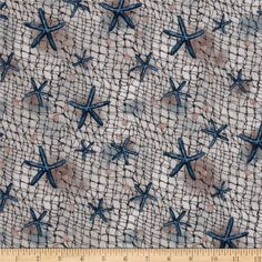 At Port Side Starfish Netting Natural from @fabricdotcom  Designed for Robert Kaufman, this cotton print fabric is perfect for quilting, apparel, crafts, and home decor items. Colors include blue, cream, tan, and brown.