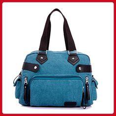 2f48655c77 TianHengYi Women s Canvas Top Handle Tote Handbag Vintage Weekender  Shoulder Bag with Shoulder Strap Blue -