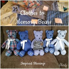 Items similar to Memory Bear Keepsake Bear on Etsy Memory Quilts, Memory Pillows, Teddy Bear Sewing Pattern, Memory Bears, Memory Crafts, Sewing Stuffed Animals, Memorial Gifts, Sewing Projects For Beginners, Nifty