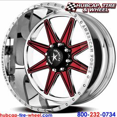 American Force Evade FP8 Polished Wheels & Rims. This is a removable aluminum face plate, in this example the customer wanted red and black inserts stacked for a great looking color scheme.