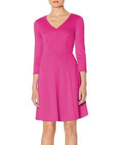 Look at this Pink V-Neck Skater Dress on #zulily today!