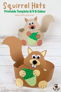 This printable Squirrel Hat Craft is adorable! Available in B/W and 2 colour versions it's easy to make cute paper squirrel headbands. Such a fun Fall craft for kids. #kidscraftroom #squirrels #squirrelcrafts #kidscrafts #papercrafts #Autumncrafts #Fallcrafts #printables #woodlandanimals Animal Crafts For Kids, Fall Crafts For Kids, Paper Crafts For Kids, Toddler Crafts, Paper Crafting, Art For Kids, Fall Paper Crafts, Fall Arts And Crafts, Creative Arts And Crafts