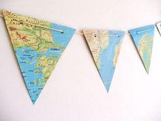Wereldkaart vlaggetjes slinger