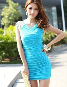 Ankin Lady's Sleeveless Tight Paillette Short Mini Dress Cocktail Party Club Evening Dress Pleated Skirts (Sky blue)