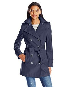 New Trending Outerwear: Calvin Klein Womens Rain Trench Double Breasted Jacket with Belt, Deep Blue, XS. Calvin Klein Women's Rain Trench Double Breasted Jacket with Belt, Deep Blue, XS  Special Offer: $89.98  177 Reviews Calvin Klein spring 2017 rain trench double breasted jacket with beltSleeve beltWide notched collar