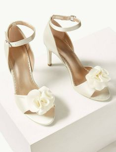 Marks & Spencer Women's Cream/Ivory Stiletto Heel /Strap wedding Sandals Size 5