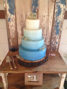 Rustic Blue Ombré Wedding Cake