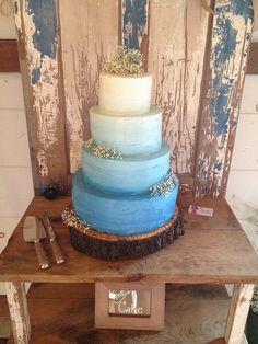 Rustic Blue Ombré Wedding Cake
