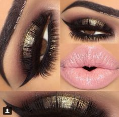 Stunning gold & brown with long winged liner - bubblegum pink with matching liner for your lips...x