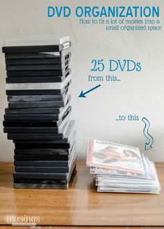 Tired of your DVDs taking up so much space on the shelf? Or not being able to find the movie you want? You won't want to miss this easy efficient method for DVD organization where you can fit all your movies into a small organized space! Diy Dvd Storage, Dvd Organization, Storage Ideas, Organizing Tips, Organising, Dvd Storage Solutions, Household Organization, Dvd Movie Storage, Cleaning Tips
