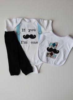 Mustache Baby Boy First Birthday Onesie Suspenders