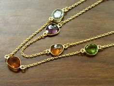 "Bezel Set Multi Colored Quartz 22K Gold Vermeil Necklace 24"". $120.00, via Etsy."