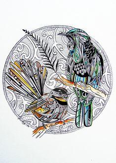 Custom Tui And Fantail by fiona-clarkeART on DeviantArt Zentangle Drawings, Bird Drawings, Animal Drawings, Tui Bird, New Zealand Tattoo, Polynesian Art, Sketch Tattoo Design, Fairy Tattoo Designs, Maori Designs