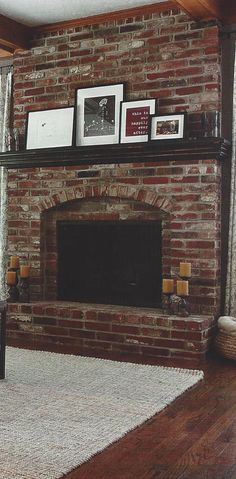 Have a red brick fireplace with dark wood mantel? This is a great example of how to dress it up and bring out the best in it! From the Fall/Winter 2013…