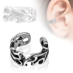 Tribal Rhodium Plated Brass Non Piercing Ear Cuff. Clips on the ear no piercing necessary. Easily bends to snugly fit in any ear. Faux Piercing, Ear Piercings, Eternity Ring Diamond, Diamond Cluster Ring, Men's Jewelry Rings, Body Jewelry, Jewellery, Industrial Piercing Jewelry, Helix Ring
