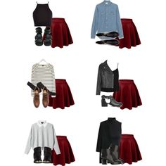 dark red skater skirt outfit - Google Search