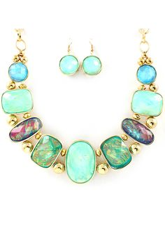 Vitrail Etta Necklace Set in Gradient Blues and Mint on Emma Stine Limited