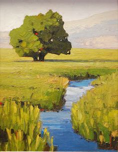 Summer Spring - by Jeff Pugh > A lovely small painting which has wonderful warmth.