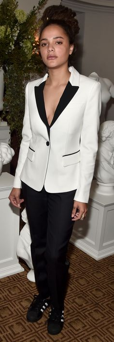 American actress Sasha Lane  wearing Burberry to celebrate the BAFTA LA Britannias with Vanity Fair