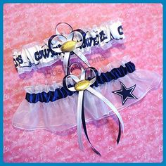 Customizable - Dallas Cowboys navy & white fabric handmade into bridal prom white organza wedding garter set with football charm - Bridal garters (*Amazon Partner-Link)