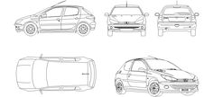Dwg Adı : Peugeot 206 çizimi  İndirme Linki : http://www.dwgindir.com/puanli/puanli-2-boyutlu-dwgler/puanli-araclar/peugeot-206-cizimi.html