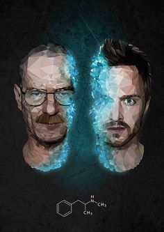 Walter White, Jesse Pinkman and the infamous blue meth in vector/low poly form.This is a recreation of https://www.behance.net/shelbywhite photographic version.