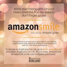 #AmazonSmile #Donate #NonProfit #Christmas #Holidays #Shopping Non Profit, Christmas Holidays, Don't Forget, Gifts, Shopping, Christmas Vacation, Presents, Favors, Gift