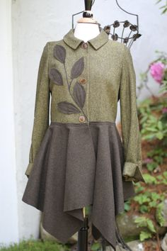 Olive wool Jacket / Upcycled / by irinale